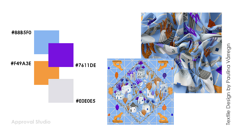 Example of 4 color combination for textile design