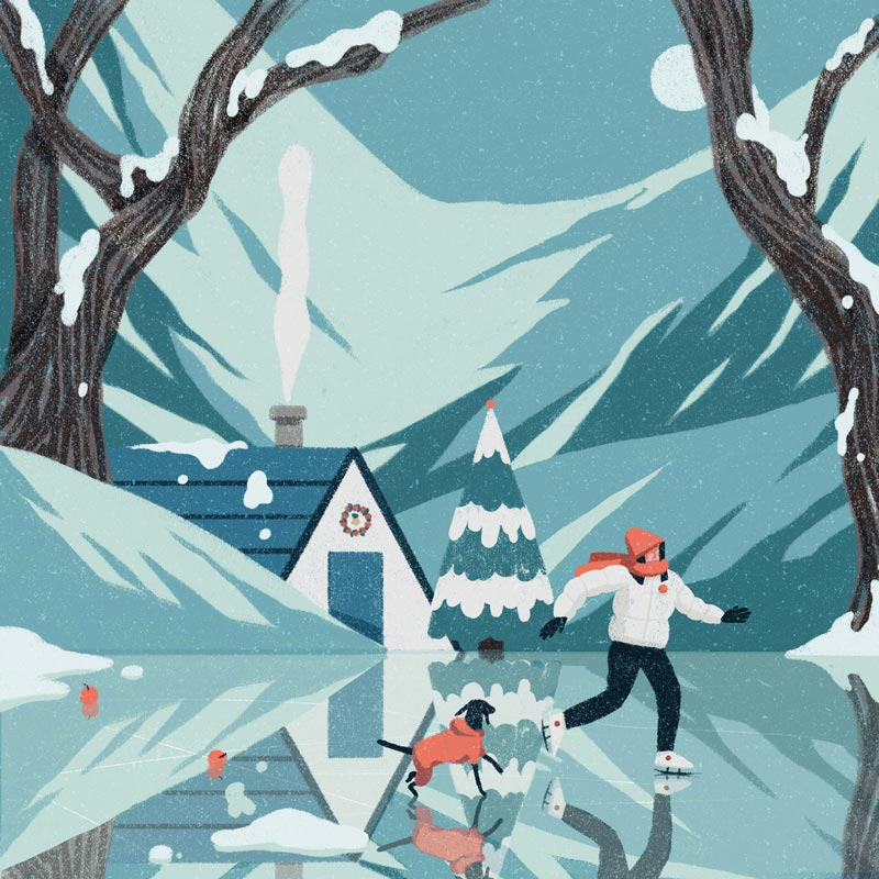 A person skating with a dog on the ice illustration