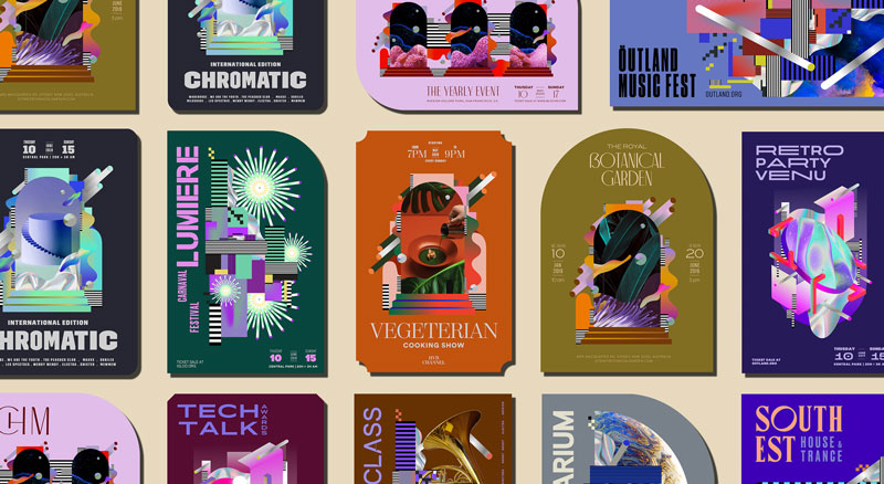 A layout of graphic posters for different events: cooking show, party, botanical garden, etc.