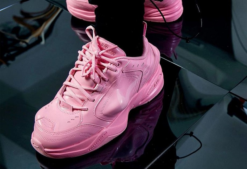 Pink Nike Air Monarch IV sneakers collaborate with Martin Rose
