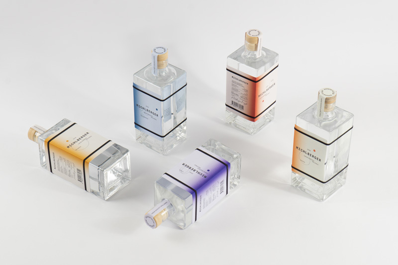 Packaging design picture of glass cube alcohol bottles
