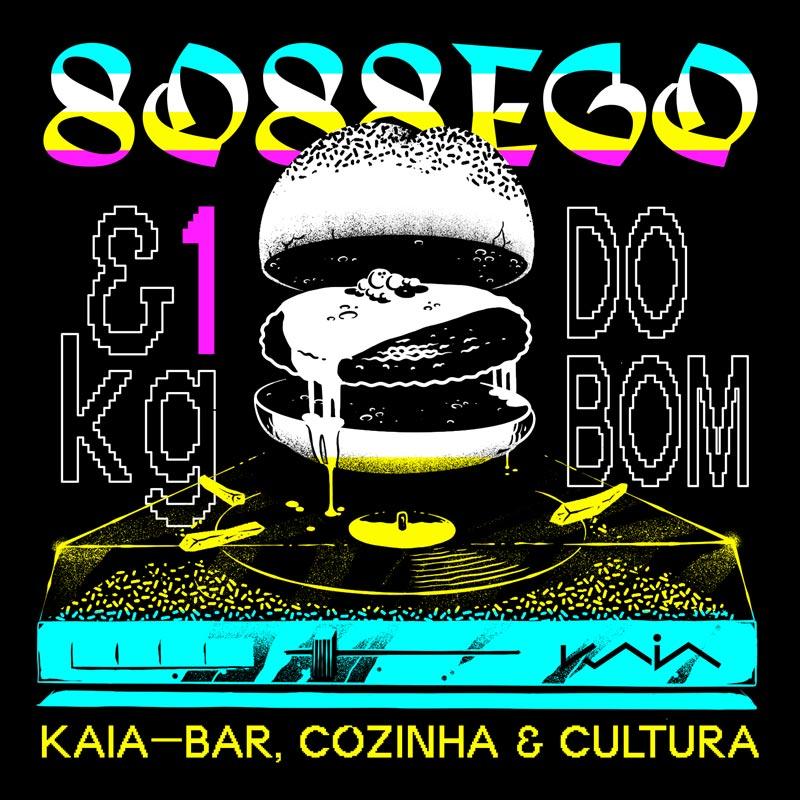 Design poster with a hamburger on the DJ setup