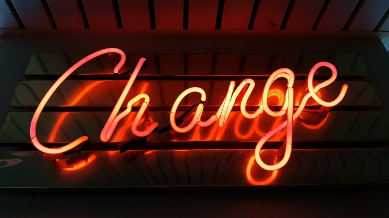 """A word """"Change"""" made out of neon lamps"""