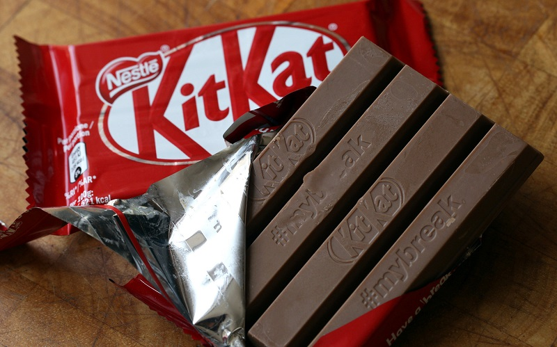 Kit-Kat chocolate bar in red package