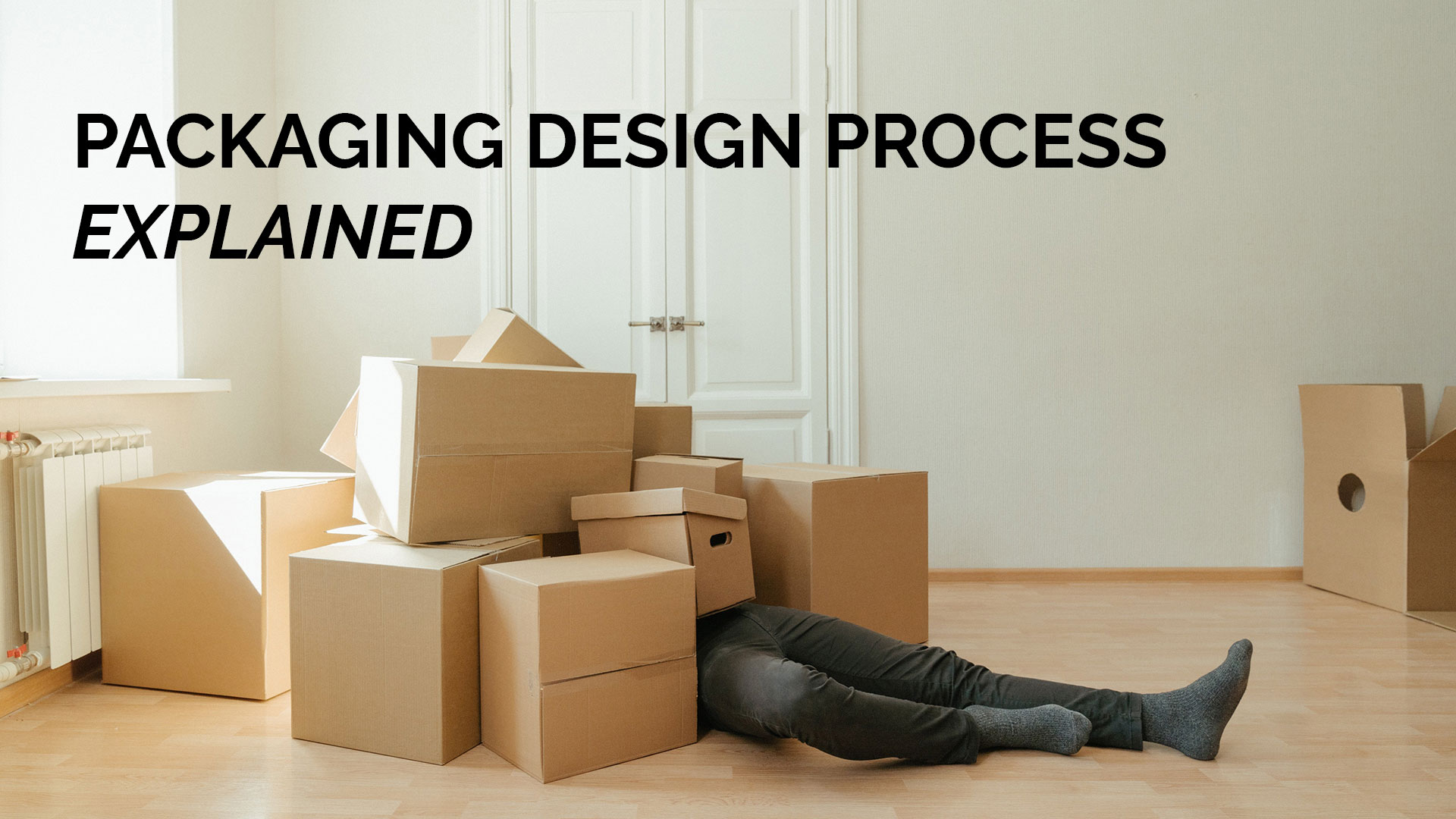 packaging design banner person and boxes