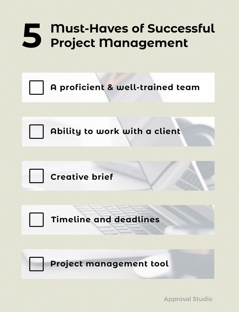 Checklist with 5 points: proficient team, ability to work with client, creative brief, timeline and deadlines, and project management tool.