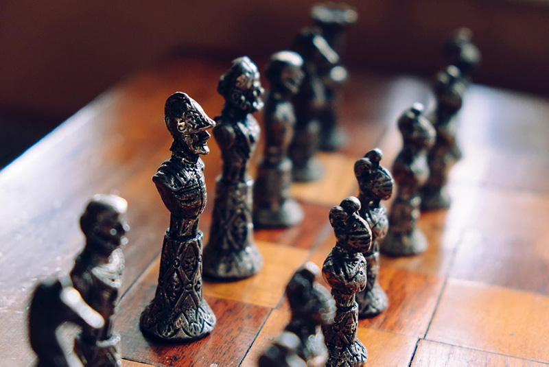 Chess pieces in a bust form
