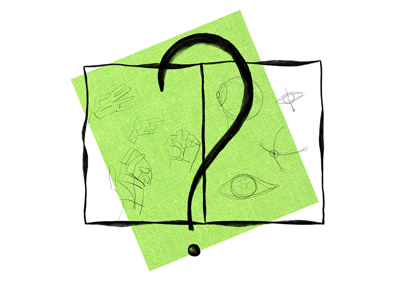 graphical question mark design on the green background