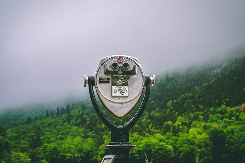 Touristic telescope on the hill