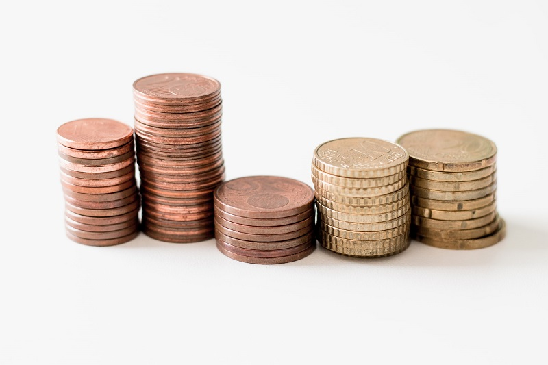 Stacked coins