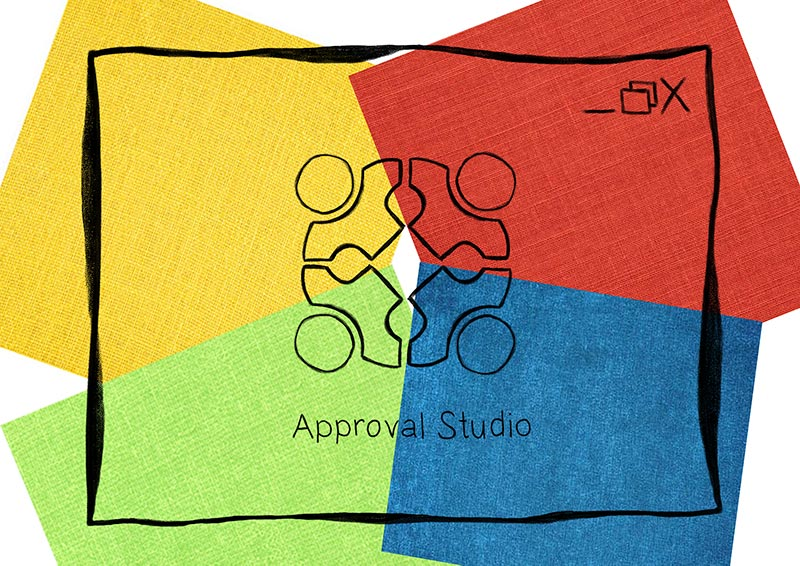 Approval Studio logo sketch on yellow, blue, read and green background