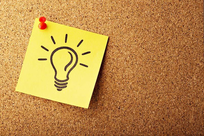 Lightbulb sticker on the board