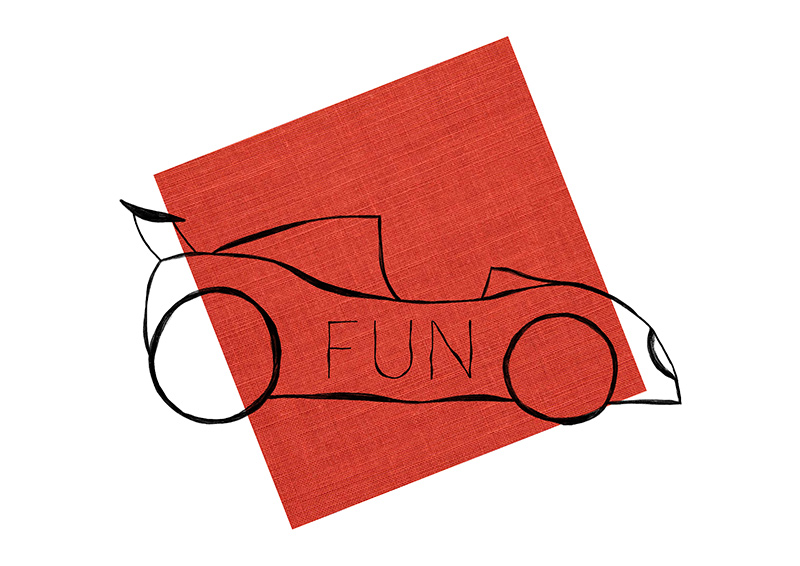 Fun car sketch drawing on red background