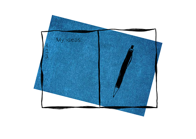 """Notebook with """"My ideas"""" sketch drawing on blue background"""