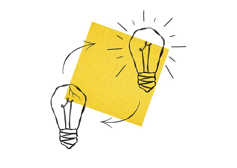 Cracked lightbulb removed by brighter lightbulb drawing
