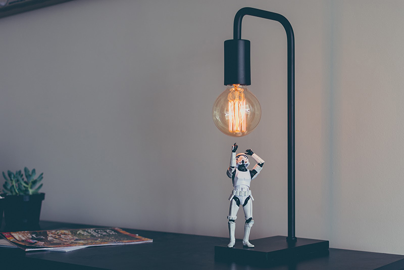 Stormtrooper trying to reach lightbulb