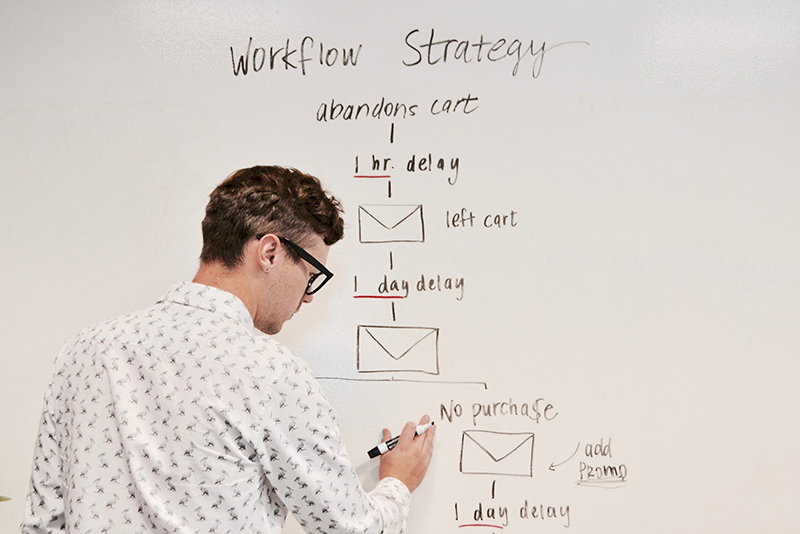 Man writing workflow strategy on the board