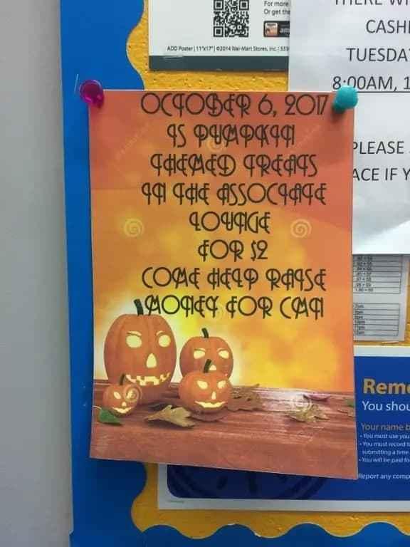 terrible font chosen for Halloween themed advertisement