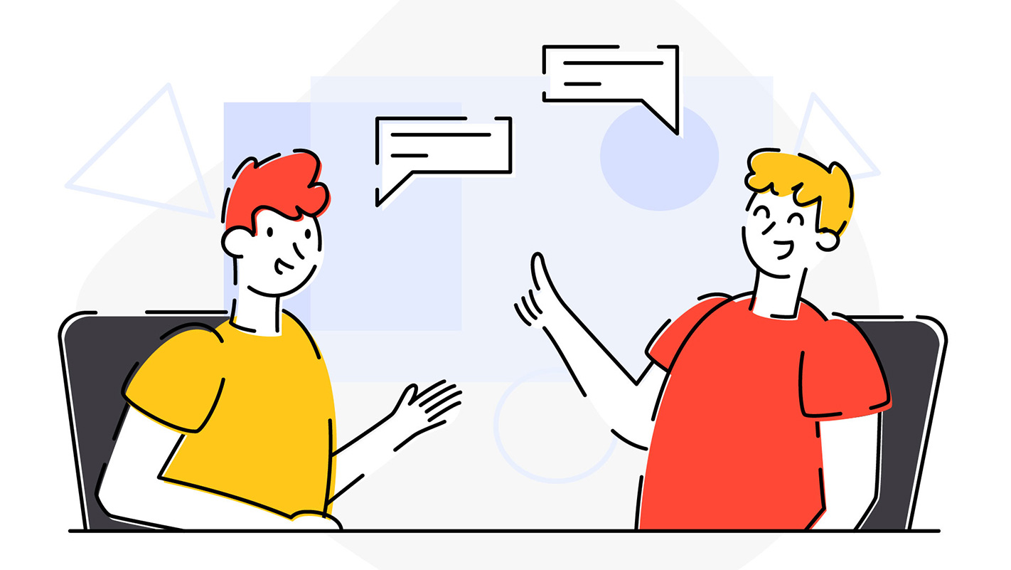 Artwork of two people having well-organized project communication