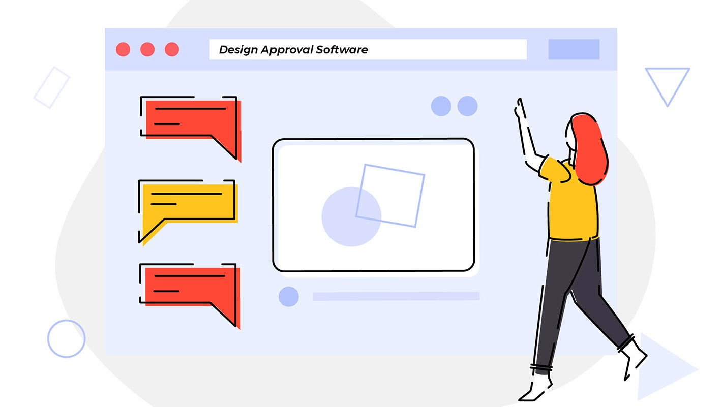 Artwork of a person looking for design approval software solution