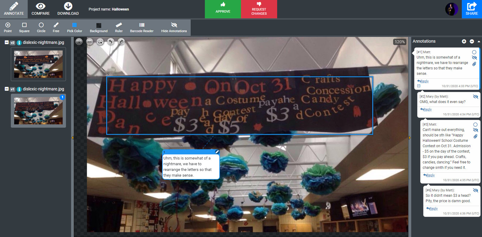 annotations to gibberish congratulations banner in approval studio