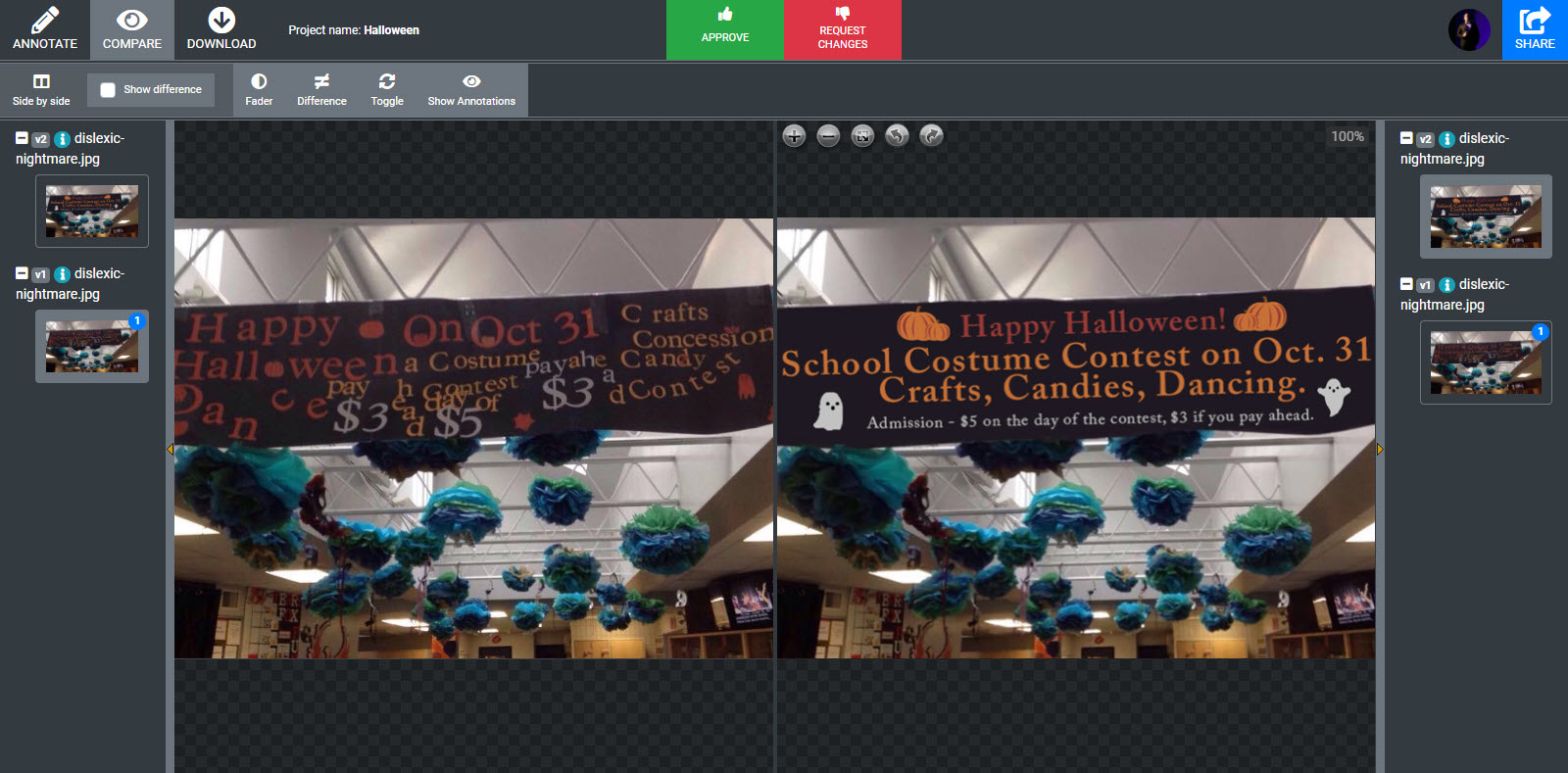 Before and after comparison of gibberish banner