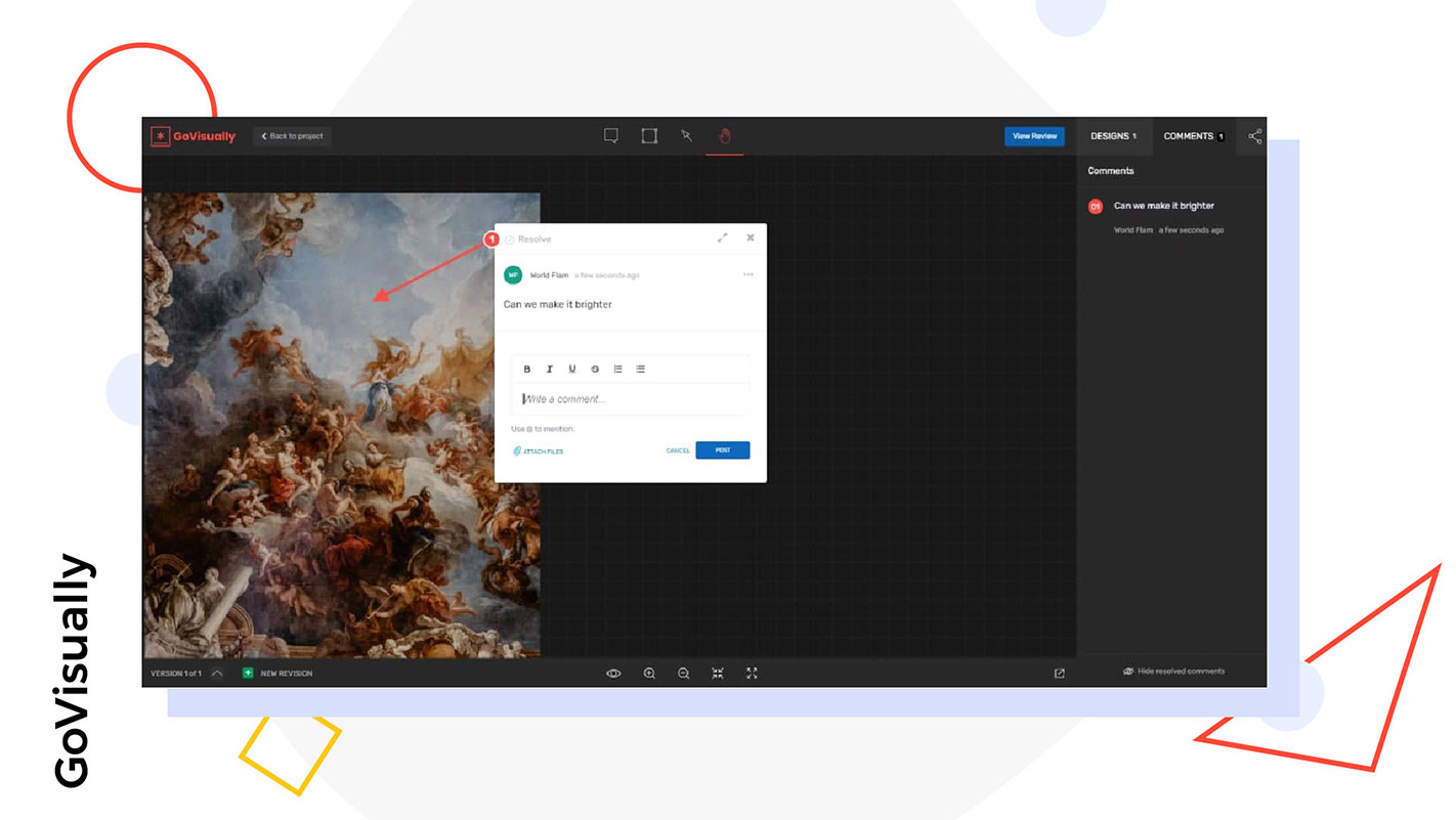 A screenshot of GoVisually interface