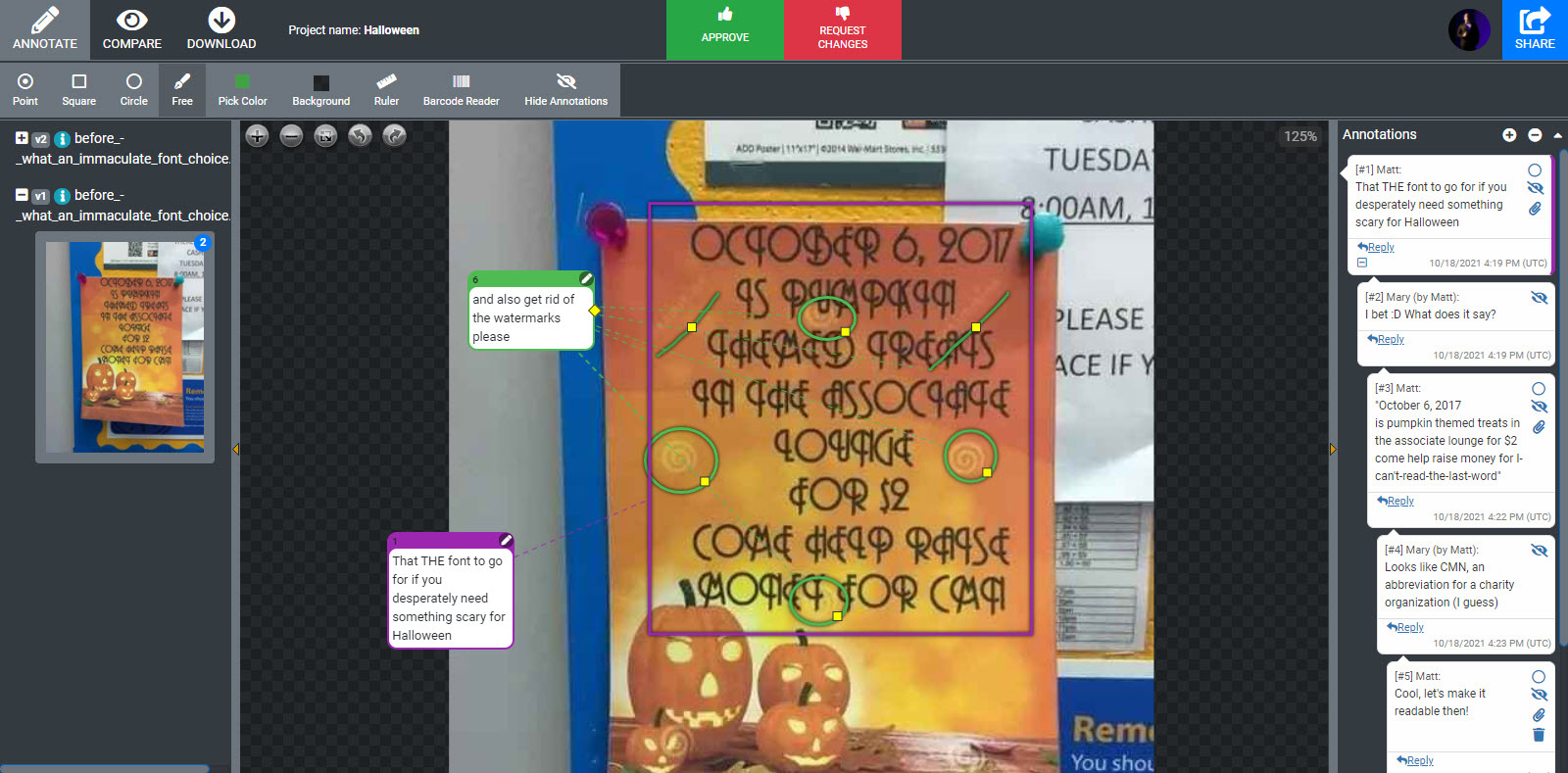 The annotations to the halloween scary font